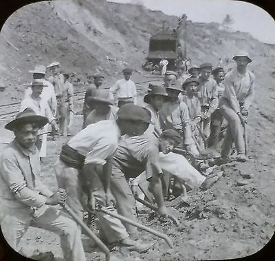 Spanish Laborers at Work on the Panama Canal, Magic Lantern Glass Photo Slide