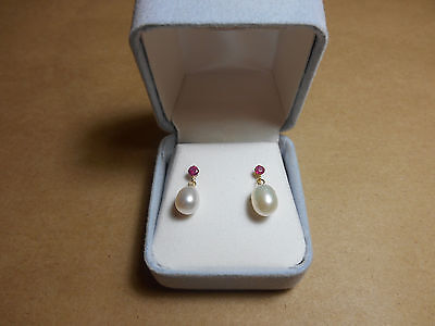 Red Ruby 14K Yellow Gold Earrings Faux Pearl Drops 0.27ct Valentine's Gift!