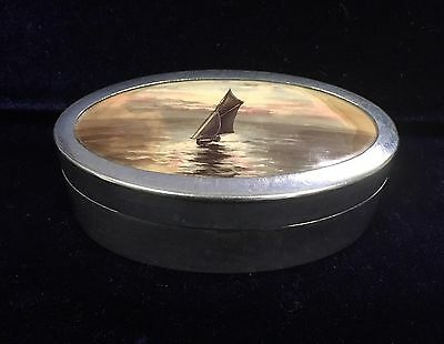 Antique/Vintage Silver Plated and Enamel Boating Scene Snuff Box