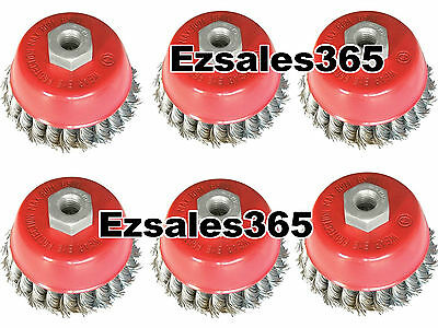 """6 Pack 3"""" Cup Brush Knotted Twisted Wire Wheel 5/8 Arbor Grinde"""