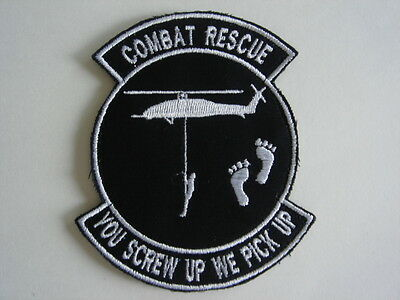 1 pc US Combat Rescue Chopper embroidered patch hook back