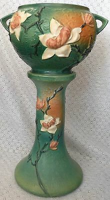 Roseville Pottery 1940's Magnolia Jardiniere And Pedestal Set