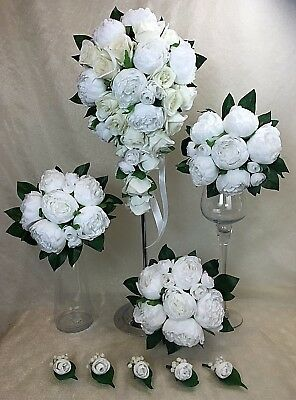 Artificial Silk Flower White/Cream Peony teardrop bridal wedding bouquet set