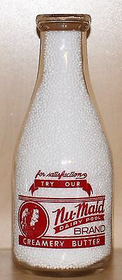 "Rare - ""n.a.d.p."" ""nu-Maid Dairy Pool"" - Quart - Milk Bottle - Edmonton, Alberta"