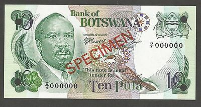 Botswana 10 Pula N.D. (1976); UNC; P-4s2, L-B104bs; SPECIMEN; National Assembly