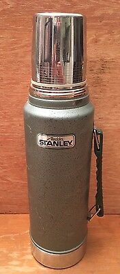 Aladdin Stanley A-944DH Stainless Steel Super Vac Thermos Green Metal 1 QT - USA