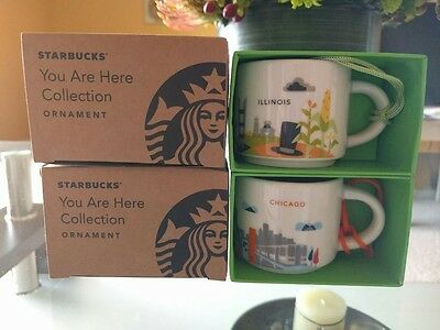 Starbucks Chicago & Illinois Set YAH Demi Mug Ornament You Are Here New Espresso