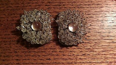 Antique Ladies Jabot or Hatpin Jeweled Beads & Bubble Glass