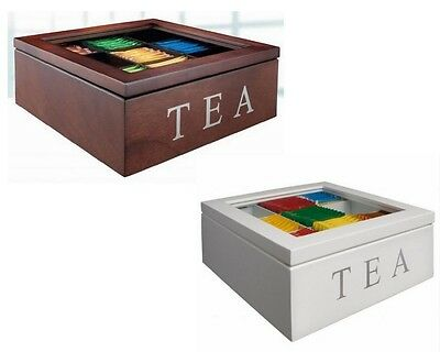 9 Compartments Wooden Tea Storage Box Container with Glass Top Chest Tin