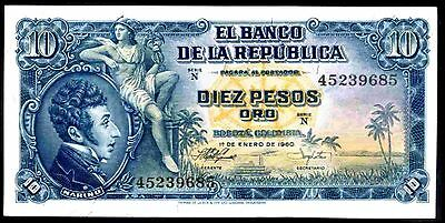 Colombia. Ten Pesos, N 45239685, 1-1-1960, Very Fine-Extremely Fine.