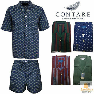 CONTARE Featherweight 100% COTTON Pyjamas PJs SHIRT & SHORTS SET Mens PLUS KING