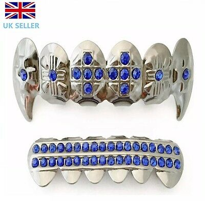 Silver Vampire Fang Grillz Plated Blue Stones Teeth Mouth Grills Top Bottom Rap