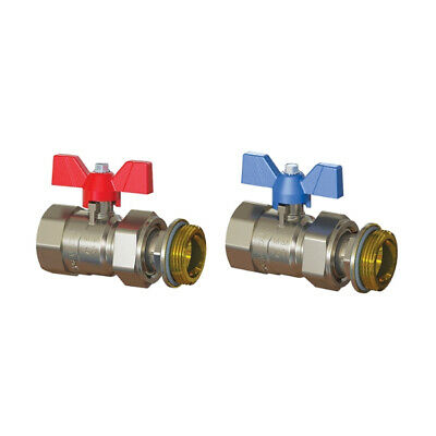Emmeti 1″ Ball Valve with Butterfly Handle - Pair (Red and Blue)