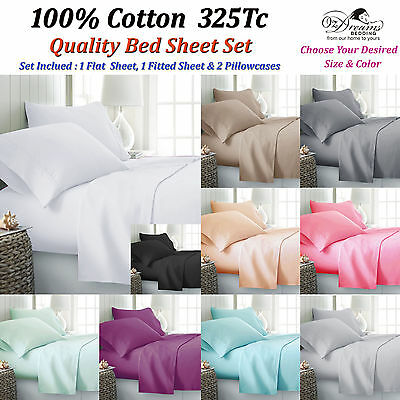 Queen & King Size 100% Cotton 325Tcplain Dyed 4Pcs Bed Sheet Set - Brand New