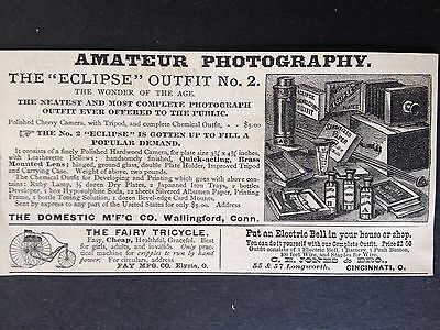 Antique 1888 Ad (1800-11)~Domestic Mfg. Co. Wallingford, Conn. Camera Outfit