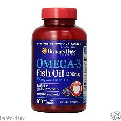 Puritan's Pride Omega-3 Fish Oil (360 mg Active Omega-3) 1200 mg / 100 Softgels