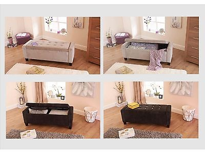 Verona Diamante Fabric Chenille Storage Bench Blanket Box - Black or Silver