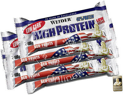Weider 40% High Protein Bar (24,50€/Kg) 10x 100g Eiweiß Low Carb Riegel (30+2)