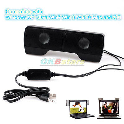 Mini Portable USB Clip-On Speaker for MP3 TV Laptop PC Phone Music Players #K