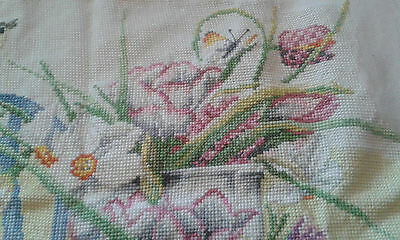 Pretty Completed Cross Stitch Kit Of Daffodils On Table From Lanarte