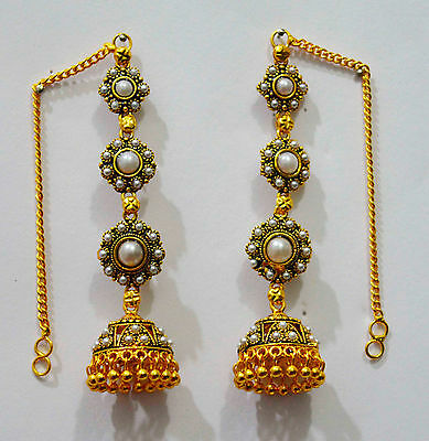 Indian Bollywood Gold Jhumka Earrings Antique Pearl Bridal Fashion Jewelry fje24