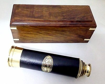 Artshai 16x brass telescope.18 inch , leather bounded with Wood Box    Nautical