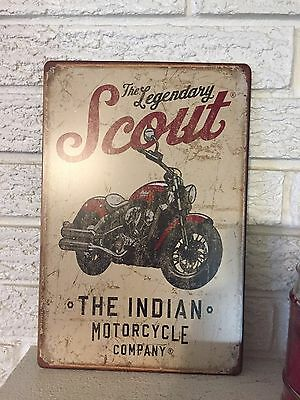 INDIAN MOTORCYCLE The Legendary Scout Antiqued Metal  Retro Tin Plate Sign