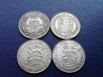 Silver Shillings, George V and Victoria, 4 coins