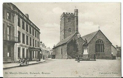 Bulwark Brecon St Mary's Church & Wellington Hotel PPC by Valentines #24596