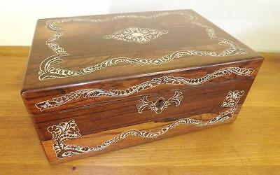 Antique Beautiful Victorian Rosewood And Mother Of Pearl Writing Slope. 1860