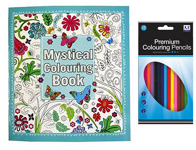 Mystical Adult Colouring Book with 15 Pencils Anti-Stress Art Therapy 24 x 22cm