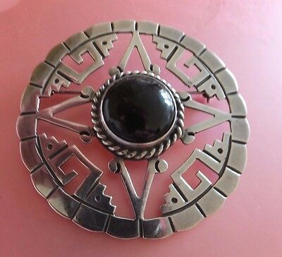 Vintage Mexican Silver and Black Onyx Brooch Signed