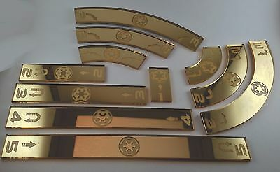 X Wing Movement Templates Imperial, Mirrored Metallic Gold Acrylic