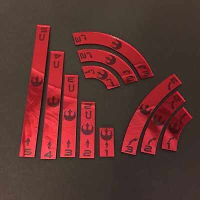 X Wing Movement Templates Rebel, Mirrored Red Acrylic
