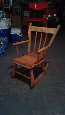 Antique wooden rocking chair for toddler, refurbished