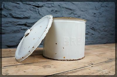 Vintage White & Blue Enamel Bread Bin - Retro Kitchen Storage - Round Design