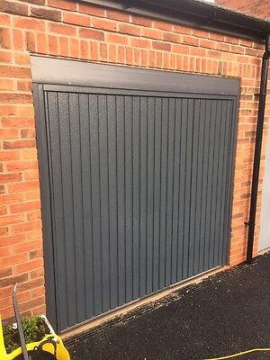 Fully Fitted Anthracite Grey Vertical Garage Door Up And Over Lift Up Canopy