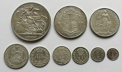 1902 King Edward VII 9 Coin Matt Proof Silver Set Crown to Maundy Penny