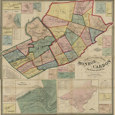 1860 Map of Monroe & Carbon County PA