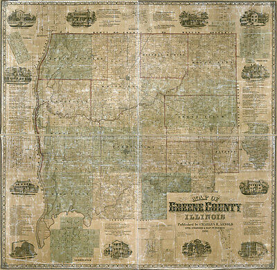 1861 Farm Line Map of Greene County Illinois White Hall