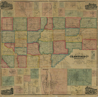 1865 Farm Line Map of Crawford County Pa from actual surveys