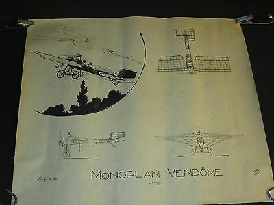 MONOPLACE VENDOME ancien planche aéronautique aviation avion plane /C