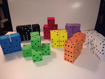 43 large foam dice in 8 colors for classroom use, party favors, etc