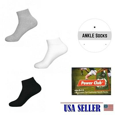 NWT 1 DOZEN 12 PAIR MEN SOLID SPORTS SOCKS ANKLE or CREW STYLE COTTON 3 COLORS