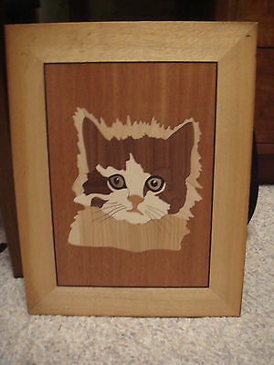 Wood Inlay Marquetry Picture Cat, Feline Lover