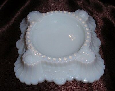 Translucent White Glass Ashtray Scalloped Base Beaded Accent
