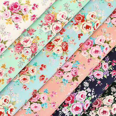 100% Cotton Fabric by FQ Rose Flower Bouquet Shabby Vintage Retro Chic Dress VR5