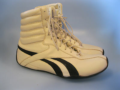 Men's Classic Reebok Cream & Black Leather / Suede Boxing Boots. UK Size 9