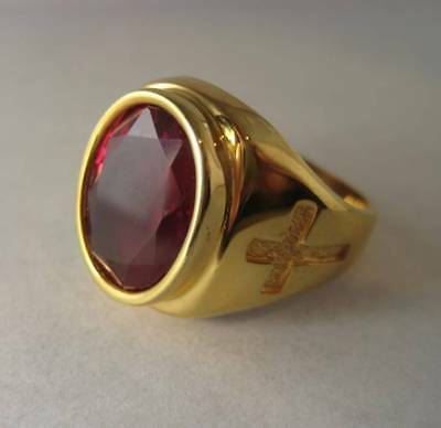 Solid silver ring for Bishop - Synthetic Ruby - 2448-Red