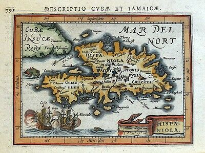 HISPANIOLA, WEST INDIES, HAITI, DOMINICAN REP. BERTIUS original antique map 1618